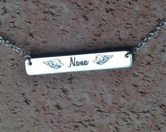 nana, angel, in memory of nana necklace