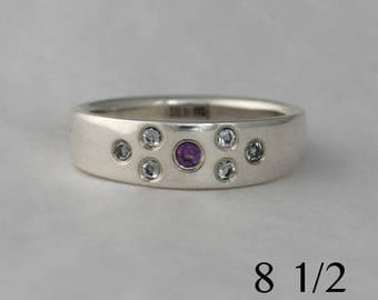 Amethyst and blue topaz tapered sterling silver band, size 8 1/2, #44.