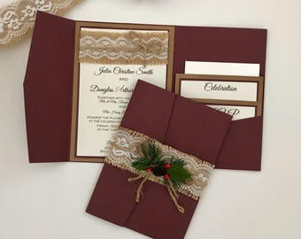 Rustic Vintage Winter Christmas Wedding Invitation Suite - shabby chic invitations - burlap wedding invitation - burgundy pocket folder
