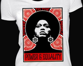 Power And Equality Ladies Fitted T-shirts