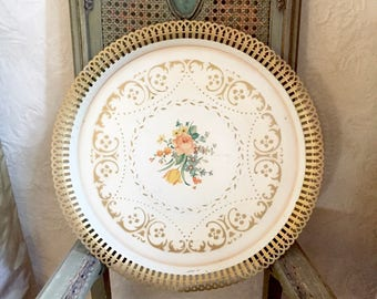 Vintage Tole Tray - Stenciled Gold - Reticulated - Roses Floral Flowers - Toleware Tray - Shabby Cottage Chic