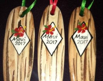 Set of three surfboard ornaments