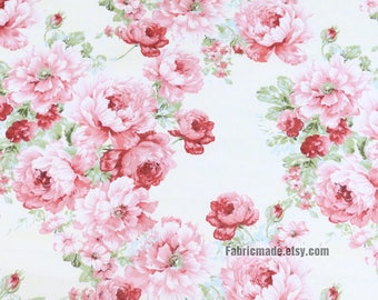 Large Peony Floral Cotton Red Flower On Off White Shabby Chic Fabric