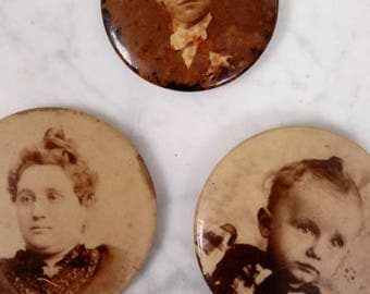 3 Antique Photo Buttons Pins Sepia Mourning Jewelry