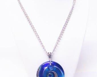 Round Aqua/Gold/Blue Swirl Glass Pendant Necklace