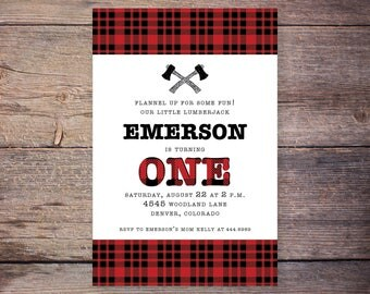 printable lumberjack first birthday, flannel birthday party invite, lumberjack first birthday invitation, lumberjack birthday
