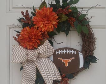 Texas Longhorns wreath, Texas, University of Texas, Longhorns, College Football Wreath, Texas Longhorn Football Decor, Burnt Orange Nation