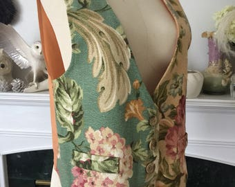 80s Romantic Barkcloth Vest
