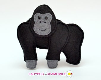 Felt GORILLA, stuffed felt Gorilla magnet or ornament, Gorilla toy, African animals, Nursery decor,Gorilla magnet,Safari, Gorilla
