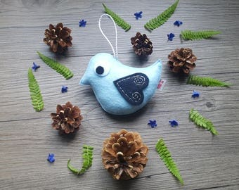 Blue Bird Ornament, Eco Friendly Decor, Kids Room Ideas, Forest Art, Handmade Plush, Wall Hook Hanging, Summer Gift, Woodland Party