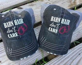 Barn Hair Don't Care Hat // Horse hat // Equestrian Hat // Barn Hat // Barn Hair // Horse Hair