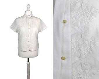 Midcentury Blouse | White 1950's Blouse | 50's Fashion | Finest Swiss Terylene Fabric | UK16 Med Large