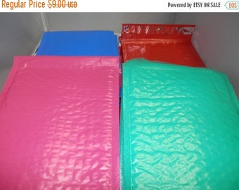 On Sale 20 Multi Color Lot of Self Adhesive Bubble Mailers, size 6x9 Padded Color Mailing Envelopes