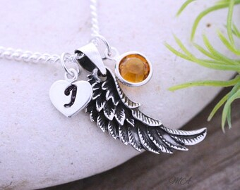Sterling Angel Wing Necklace, Sterling Silver Angel Wing, Custom charms Included. Angel wing pendant. Guardian Angel