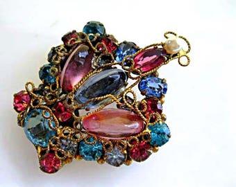 Vintage Crown Brooch, Pink Aqua Blue Rose Glass Stones, signed Original by Robert, Gold Wirework, Rhinestones