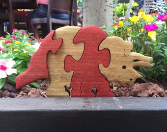 Kids  gift, Wooden toy, Dinosaur, puzzle, wooden Triceratops puzzle, wood dinosaur, jigsaw puzzle, handmade puzzle, wooden animal puzzle.