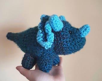 Dinosaur Crochet Stuffed Triceratops Prehistoric Doll Blue Boy