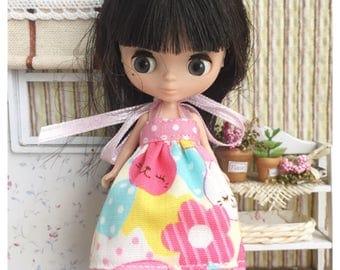 "Petite Blythe / Little Dal Outfit : ""Cute Cat Dress"" (Dress)"
