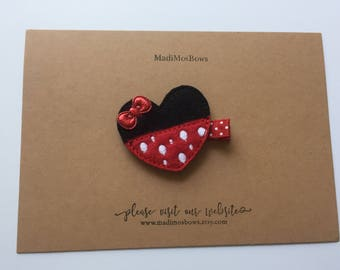 Adorable Mouse clip wrapped in ribbon MINNIE mouse inspired
