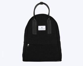 NO. 13 Backpack, Black Canvas Backpack, Black Backpack, Women Backpack, Kid Backpack, 12 Inch MacBook Backpack, Laptop Backpack