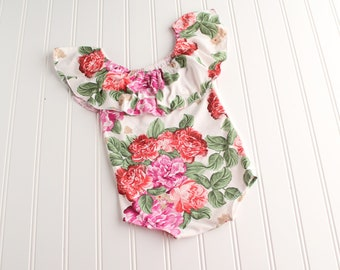 Island Beauty - off the shoulder ruffle SITTER 9-12 m romper in fuchsia, red, beige, pink, green and cream (RTS)
