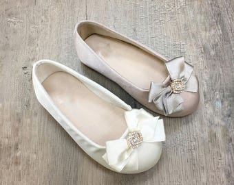 Infant girl shoes, Toddler girl shoes - IVORY & Champagne Satin slip on flats with satin bow- for flower girls