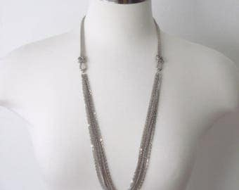 Vintage Necklace Multi Layered Silver Knotted Necklace Retro Jewelry 1970s