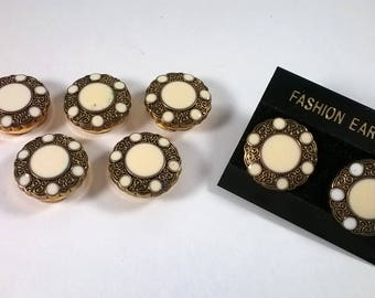 Vintage Button Cover Earring Set  - Antiqued Gold Tone Cream - Fashion Accessories 1980s