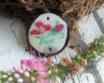 Little Plum Flower- art resin pendant original painting. plum flower bouquet. small coconut bezel. rustic flower bead. Jettabugjewelry