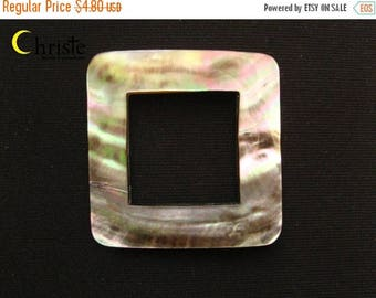 SALE Square Frame Grey Mother-of-Pearl Shell (un-drilled) 50x50mm IB