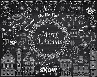 Chalkboard Christmas Clipart - Vector Christmas Clipart, Xmas Clipart, White Christmas Clipart, Winter Clipart, Chalk Christmas Clip Art