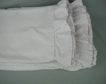 Vintage Bed Sheet Set, 1 Flat Sheet, 1 Fitted Sheet, 2 Pilowslips, Very Light Pink, Ruffled Edges, Full-Double Bed Size
