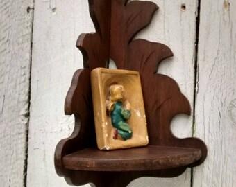 Corner Curio Shelf, Cabinet, Display Case, 1940's Wood Shelf Rustic Handmade Vintage Home Decor