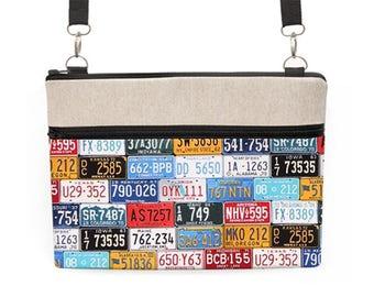 "Laptop Tote Bag 15"", MacBook Pro 13"" Crossbody, MacBook 11"" Padded Zip Bag, Fabric Laptop Case Detachable Straps - colorful license plates"