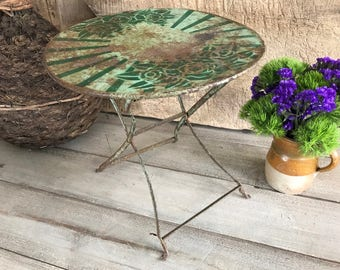 1930s French Metal Garden Folding Table, Art Deco, Rustic Farmhouse Plant Stand, Country Garden Furniture, Patio Table,  Plant Stand