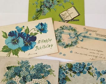 Antique Postcards / 5 Blue Flowers Birthday & General Antique Postcards 1910's Embossed Posted