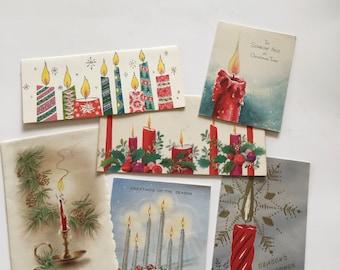 Christmas Cards / 6 Christmas Cards CANDLE theme Holiday Ephemera Lot 1950s 1960s Vintage Used Christmas Cards