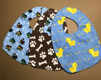 set of 3 litte boys infant handmade baby bibs