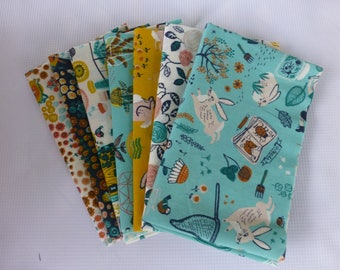 Organic Cotton Fabric - 7 Fat Quarter Bundle -  Birch Fabrics, The Hidden Garden