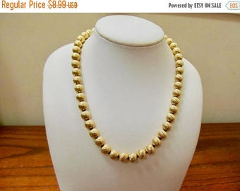 On Sale MONET Vintage Textured Gold Tone Beaded Necklace Item K # 648