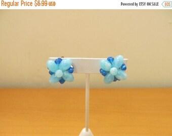 ON SALE WEST Germany Blue Cluster Earrings Item K # 1981