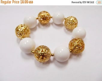 ON SALE Retro Chunky Ornate Gold Tone and White Beaded Bracelet Item K # 525