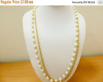 ON SALE Vintage Faux Pearl and Chain Double Strand Necklace Item K # 569
