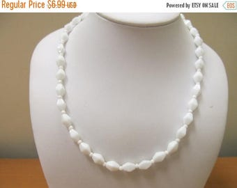 ON SALE Vintage White Glass Beaded Necklace Item K # 878