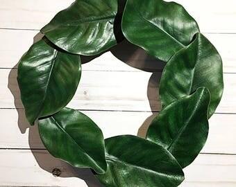 Magnolia Leaf Wreath/Front Door Wreath/Year Round Wreath/Farmhouse Wreath/Simple Wreath/Farmhouse Decor/Home Wreath/Kitchen Decor