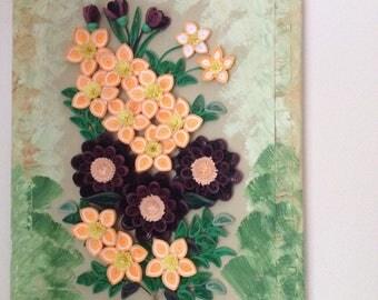 Orange flowers wall art 3D wall hanging Quilling art Paper art  Original mixed media