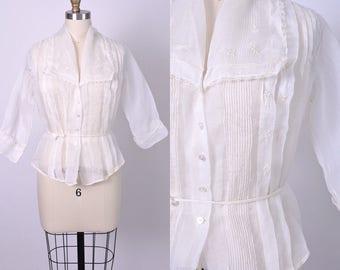 Vintage Edwardian Blouse Antique 1910s White Cotton Organdy Sheer Size Medium