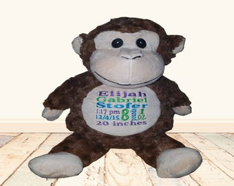 Monkey Cubbie, Personalized, birth announcement,  stuffed animal, baby gift, toddler present, baby keepsake, embroidered