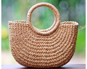 FREE SHIPPING PREORDER Handwoven straw mini bag, straw purse, straw handbag, straw bag basket, seagrass basket (Cara mini tote)
