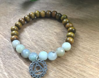 Throat Chakra Mala Bracelet, Amazonite, Sandalwood, Intrinsic Journeys Jewelry